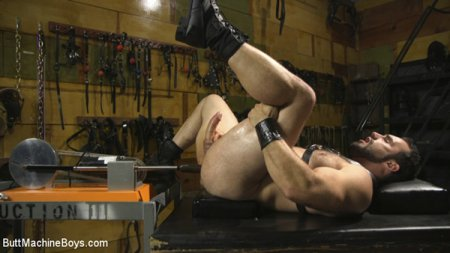 House dom takes his first machine deep in his hairy hole! 2017-04-21