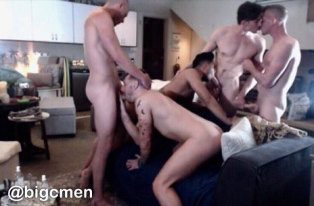OnlyFans - BigCMen - 5 Way With Jack Hunter, Josh Moore & Ricky Roman crazy orgy