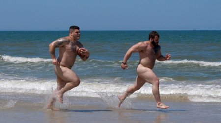 Naked Football Players at the Beach 2019-08-05